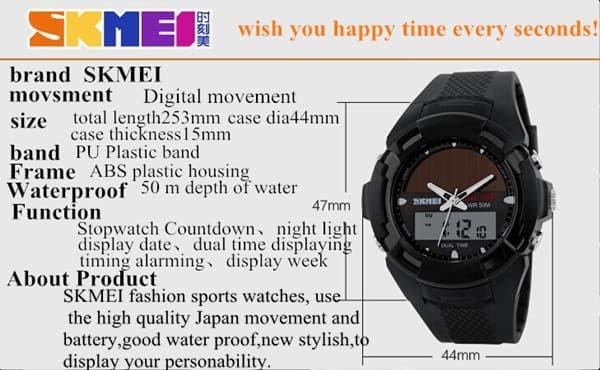 jual SKMEI Solar Power Watch 1056 Original Water Resistant 50M - Black