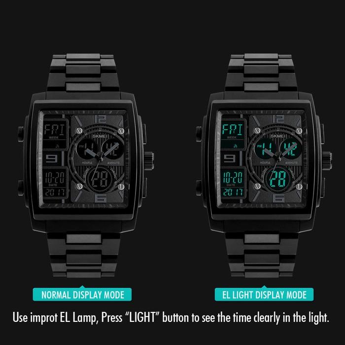 jual Jam Tangan Pria Unik Dual Time Anti Air SKMEI 1274 Original - BLUE