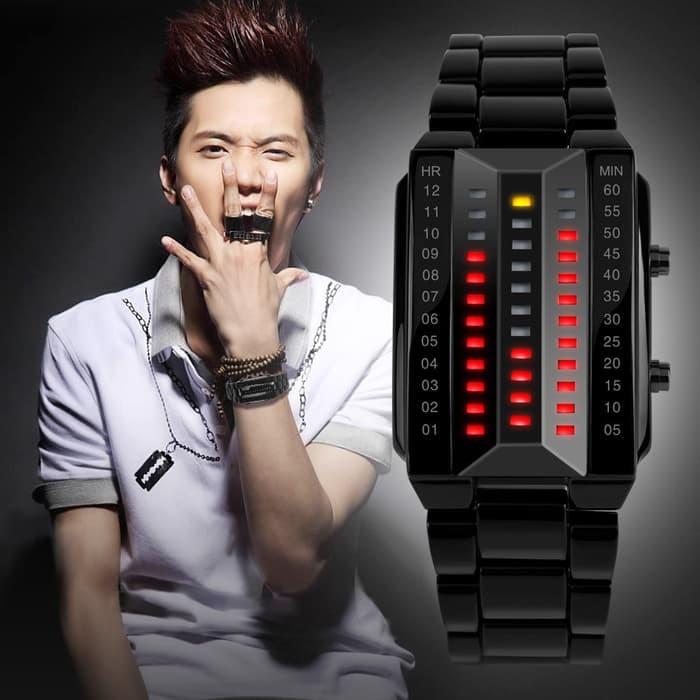 jual SKMEI Spider 1013 Hitam Original Jam Tangan Pria LED Anti Air 30M - Hitam