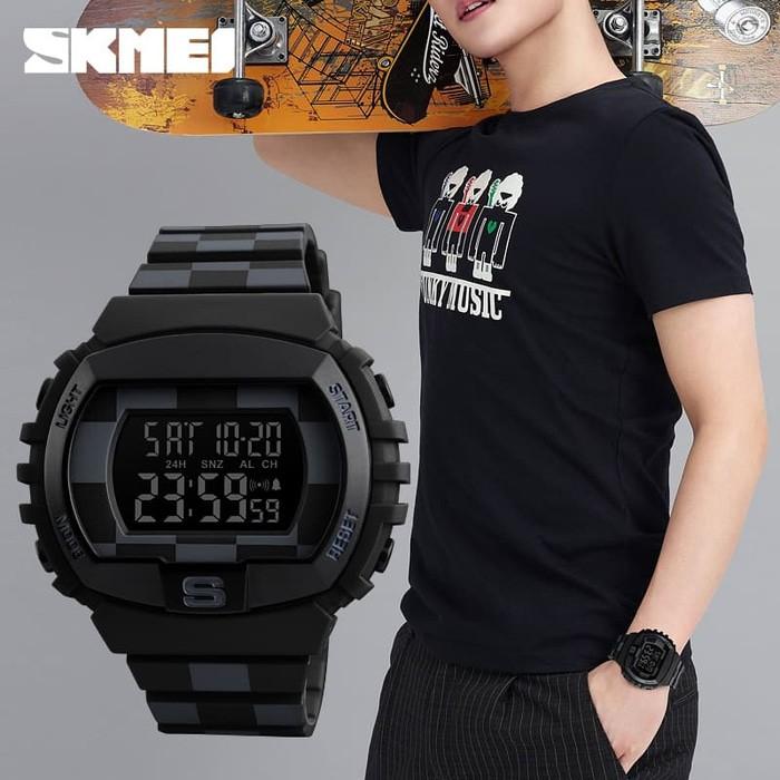 jual SKMEI 1304 Original Jam Tangan Pria Sport  Water Resist - BLACK WHITE