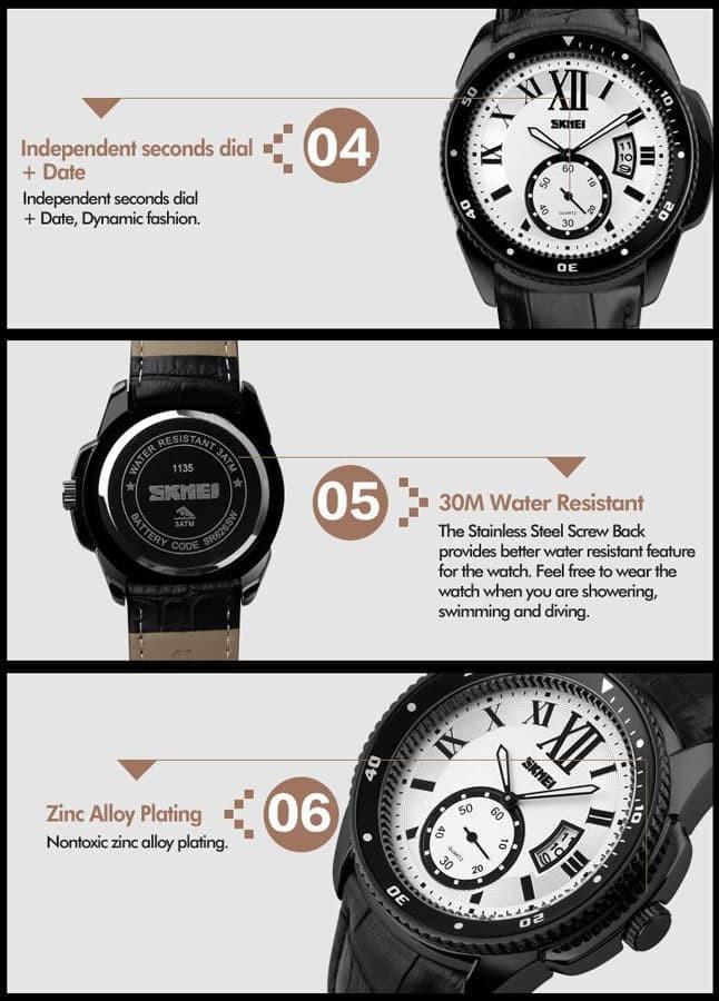 jual Jam Tangan Pria SKMEI 1135 Original Water Resistant 30M - Black