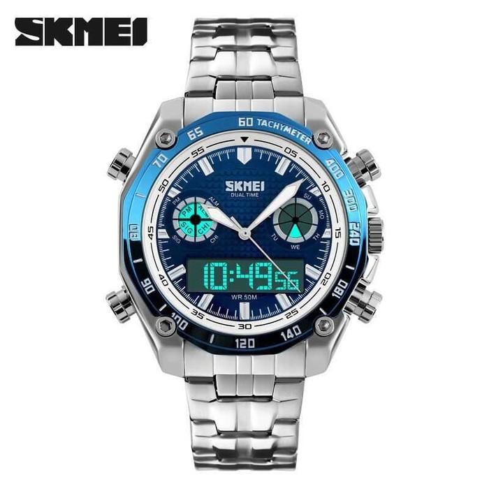 jual Jam Tangan Pria Dual Time SKMEI 1204 Original Anti Air 30M - Blue