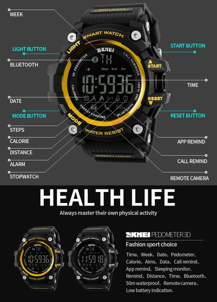 jual Smart Watch SKMEI 1227 Bluetooth Pedometer Water Resist 50M - Gold