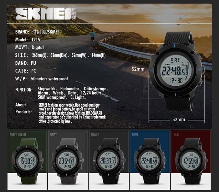 jual SKMEI PEDOMETER 1215 ORIGINAL GRAY - Jam Tangan Sport Waterproof 50M