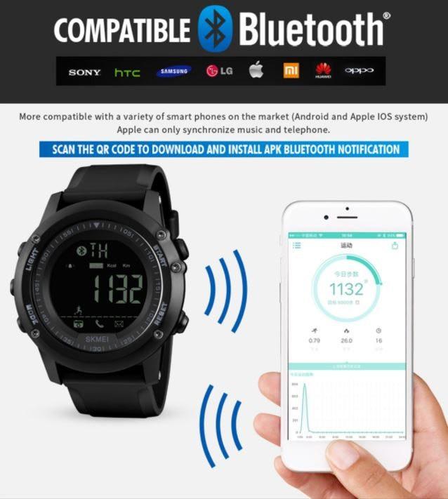 jual Jam Tangan Olahraga SKMEI 1321 Bluetooth Pedometer Smart Watch - BLUE