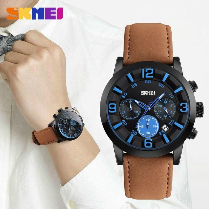 jual Jam Tangan Pria Casual Original SKMEI 9147 Anti Air 30M - Brown Blue