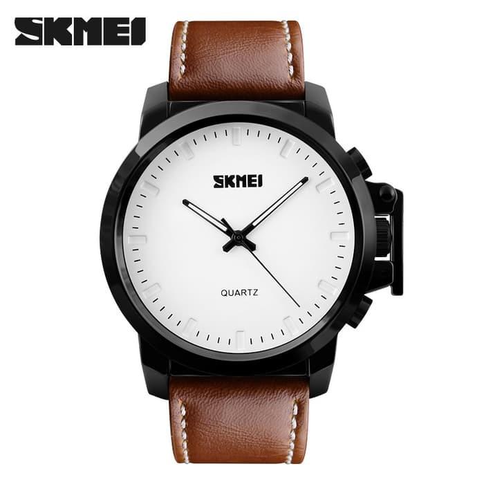 jual Jam Tangan Pria Casual SKMEI 1208 Original Leather Strap - White