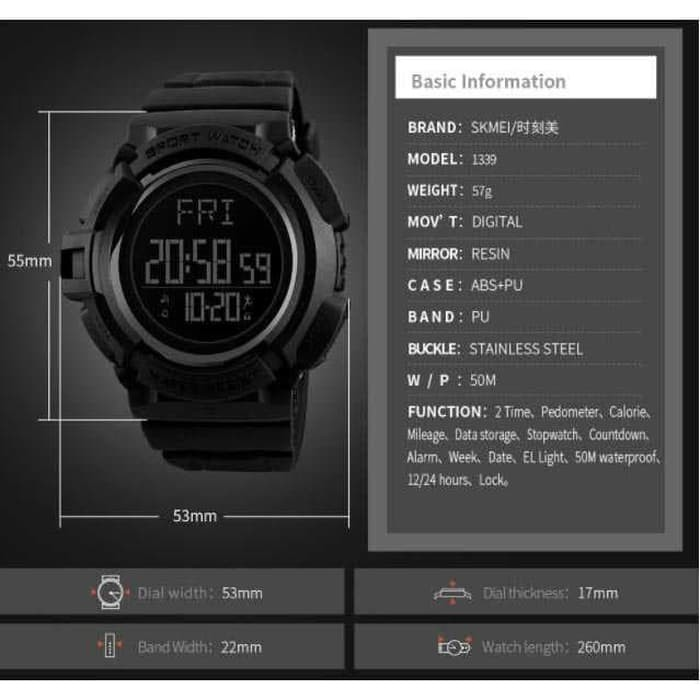 jual SKMEI Pedometer 1339 Sport Original Jam Tangan Olahraga Anti Air 50M