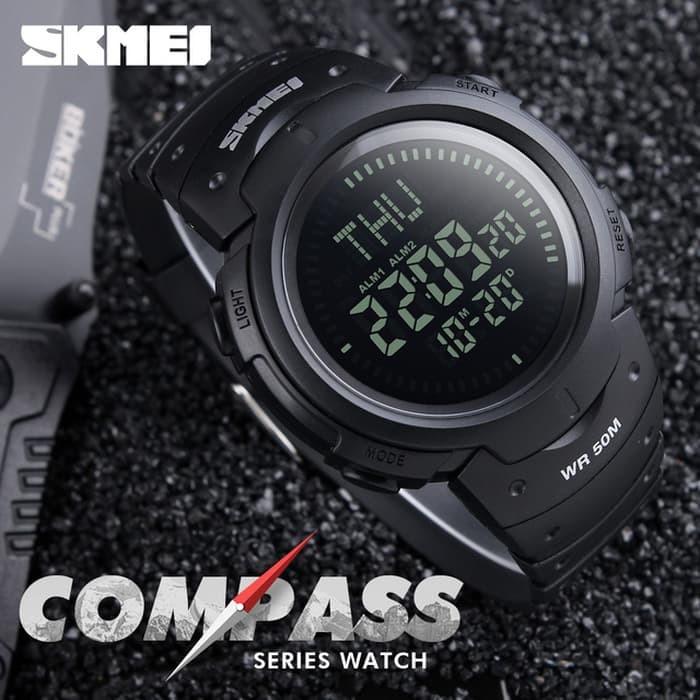 jual SKMEI Compass 1231 Original - Jam Tangan Pria Sport Outdoor Anti Air - Hijau Tua