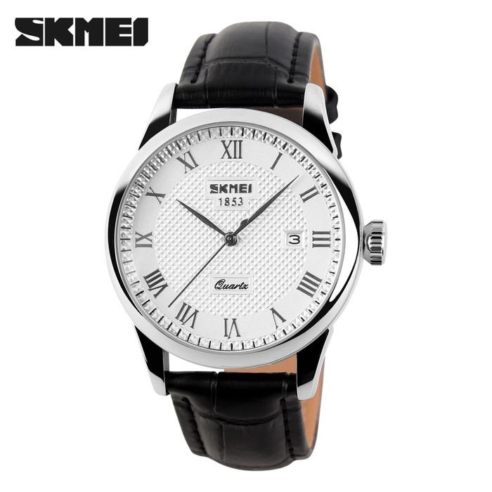 jual Jam Tangan Pria Clasic SKMEI 9058 Original Anti Air - Hitam Putih - Putih