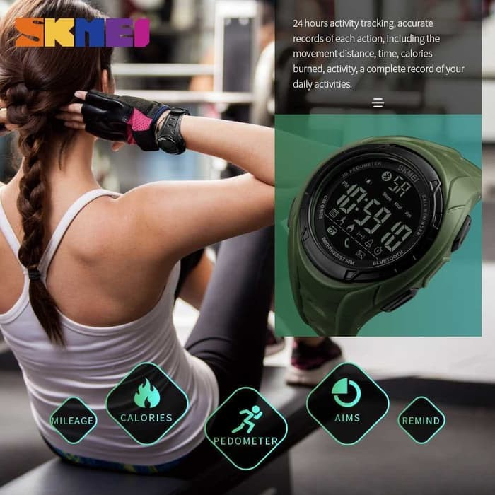 jual Smart Watch SKMEI 1316 Bluetooth Pedometer Waterproof 50M - Army Green