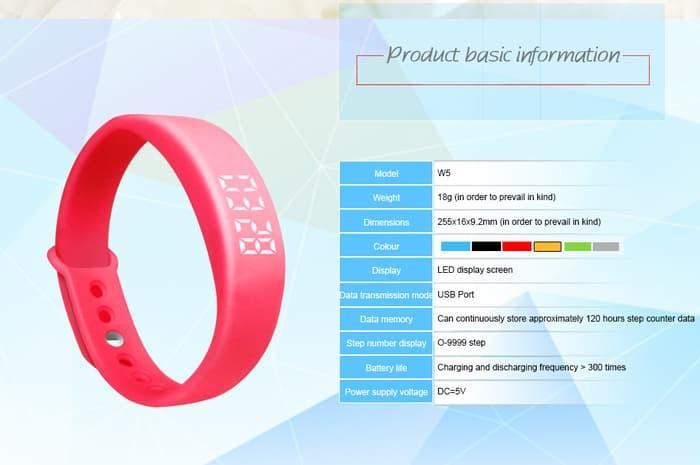jual SKMEI Smartband Fitness Tracker Original W05 - Black
