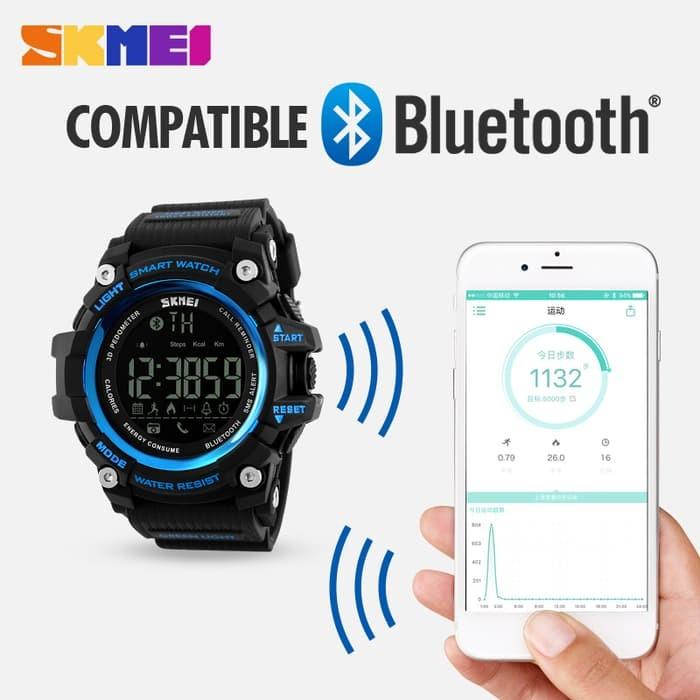 jual Smart Watch SKMEI 1227 Bluetooth Pedometer Water Resist 50M - Blue