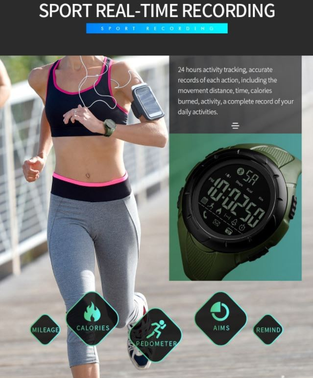 jual Jam Tangan SKMEI 1326 Bluetooth Pedometer Smart Watch - 50M Waterproof - Hitam