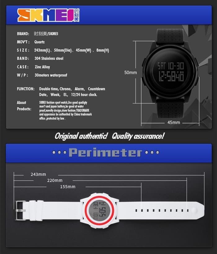 jual Jam Tangan Pria SKMEI 1206 Original Water Resistant 50M - Black