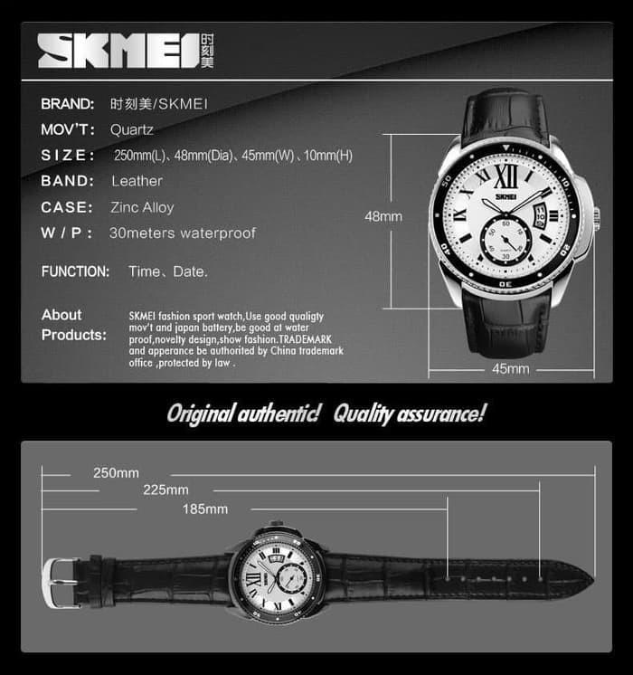 jual SKMEI 1135 ORIGINAL SILVER BLACK - Jam Tangan Pria Water Resistant 30M