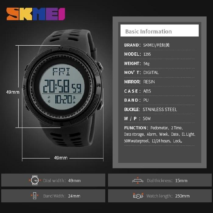 jual SKMEI 1295 Pedometer Original Jam Tangan Olahraga Anti Air 50M Suunto