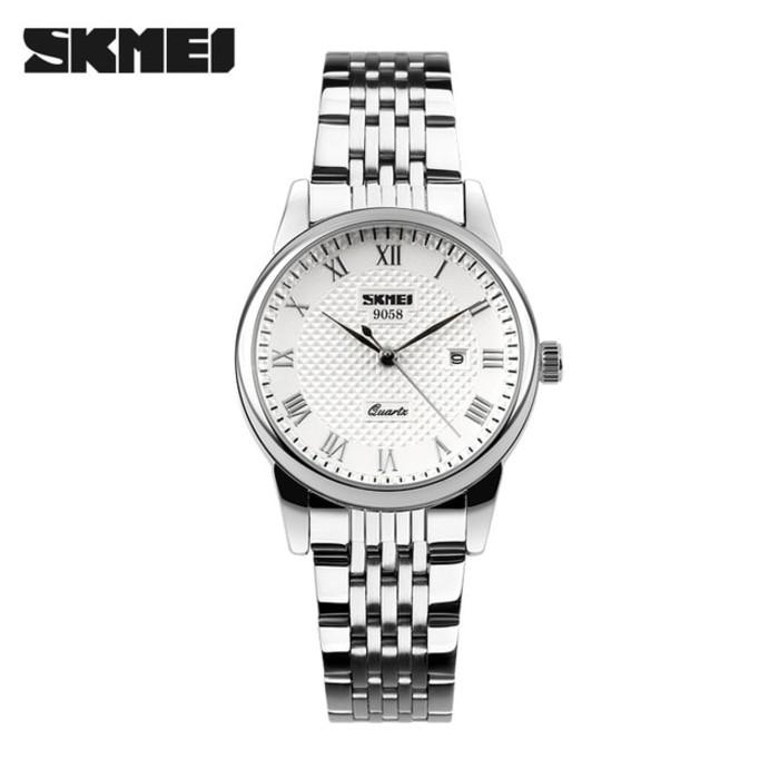 jual Jam Tangan Wanita Simple Clasic SKMEI 9058 Original Anti Air - Putih