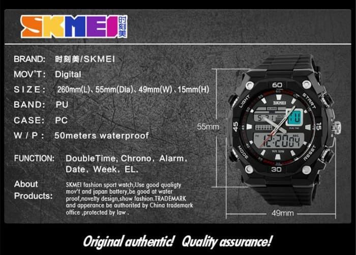 jual SKMEI 1092 ORIGINAL - Jam Tangan Sport Pria Dual Time Anti Air 50M