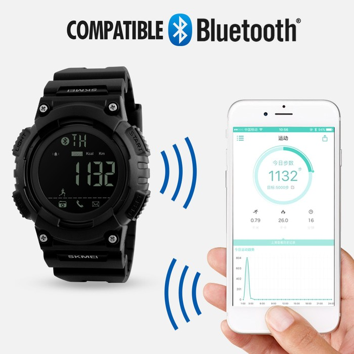 jual Smart Watch SKMEI 1256 Bluetooth Pedometer Smartwatch - 50M Waterproof - Hitam