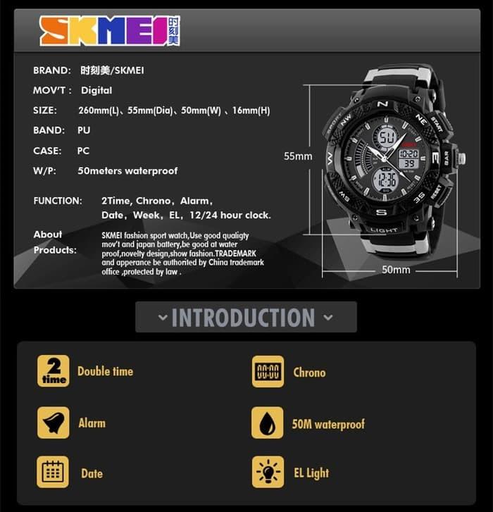 jual Jam Tangan Sport SKMEI 1211 Original Water Resistant 50M - Black