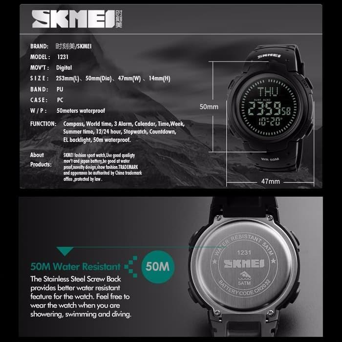 jual SKMEI Compass 1231 Original Jam Tangan Pria Sport Anti Air 50M - Green - Hitam