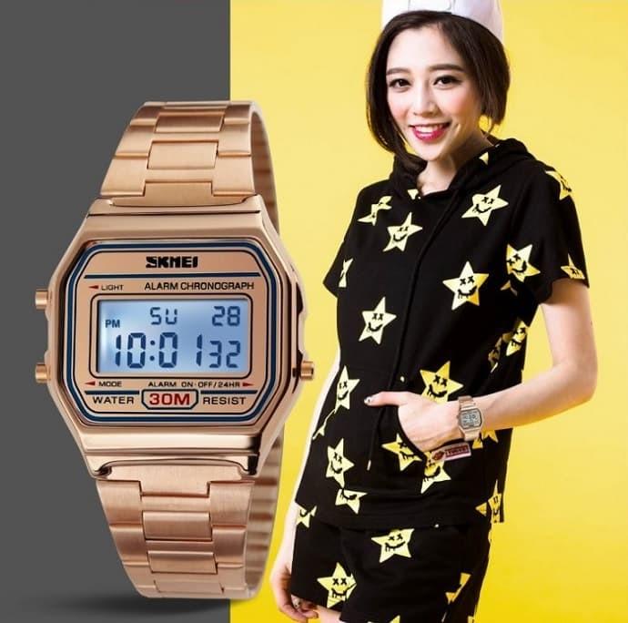 jual Jam Tangan Wanita Digital Rantai Original SKMEI 1123 Casio Anti Air