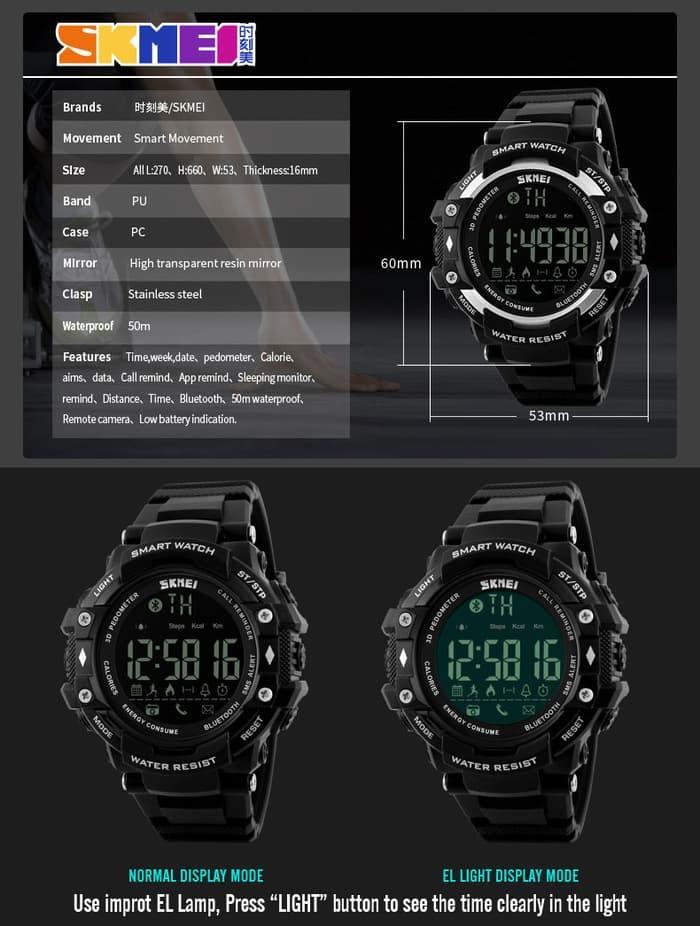 jual Smart Watch SKMEI 1226 Bluetooth Pedometer Smartwatch - 50M Waterproof
