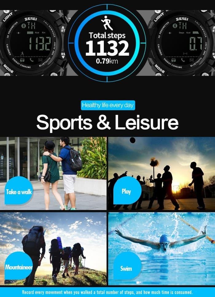 jual Smart Watch SKMEI 1227 Bluetooth Pedometer Water Resist 50M - Black