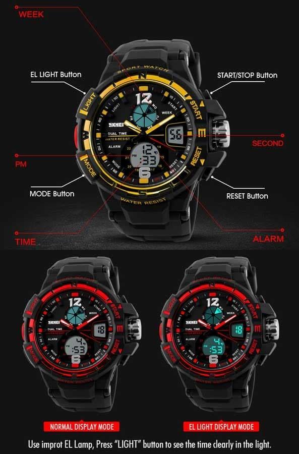 jual Jam Tangan Pria SKMEI Sport Analog LED Watch Water Resist 50m - AD1148 - Hitam