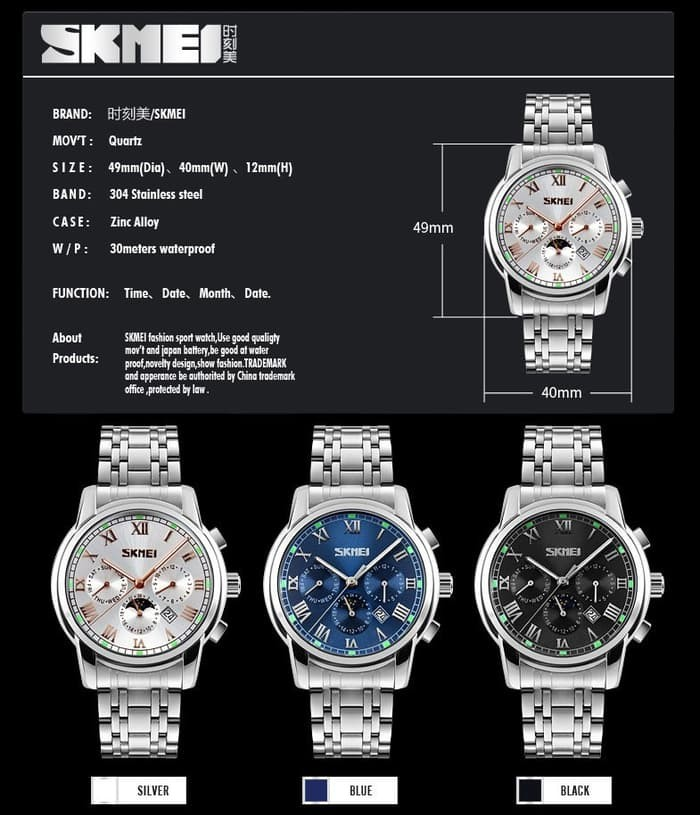 jual Jam Tangan Pria Formal SKMEI 9121 Original Water Resist 30M - Silver