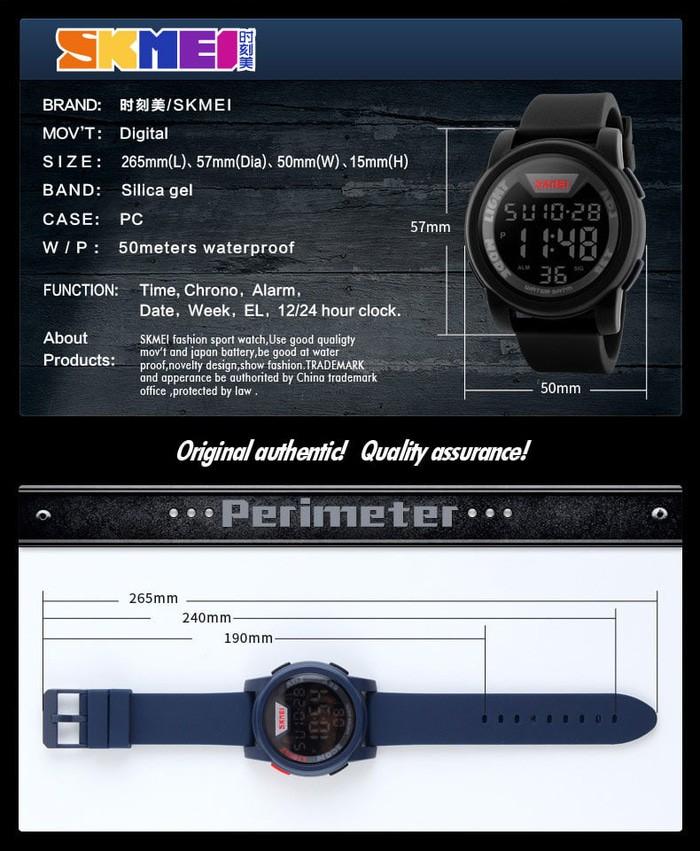 jual Jam Tangan Pria SKMEI 1218 Original Water Resistant 50M - Black