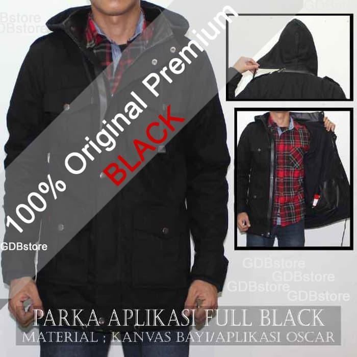 jual Jaket Parka Pria Keren Black Premium