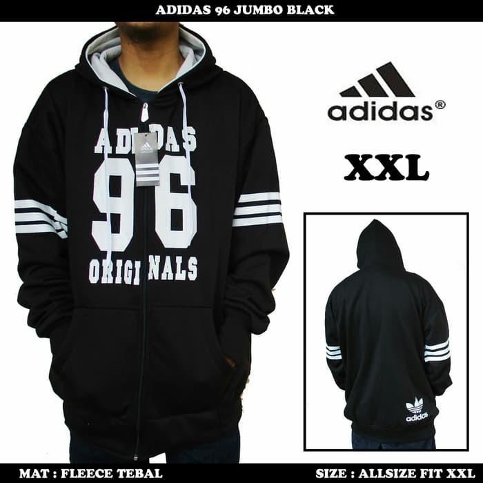 jual Jaket Adidas Black list White Jumbo  / Sweater fleece pria