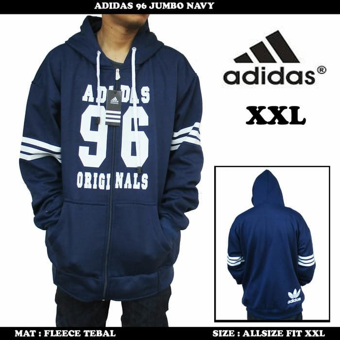 jual Jaket Adidas Navy list White Jumbo  / Sweater fleece pria