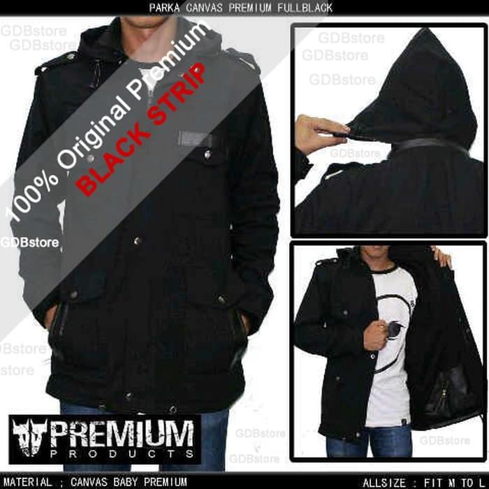 jual Jaket Parka Pria / Cowok Keren Black Premium