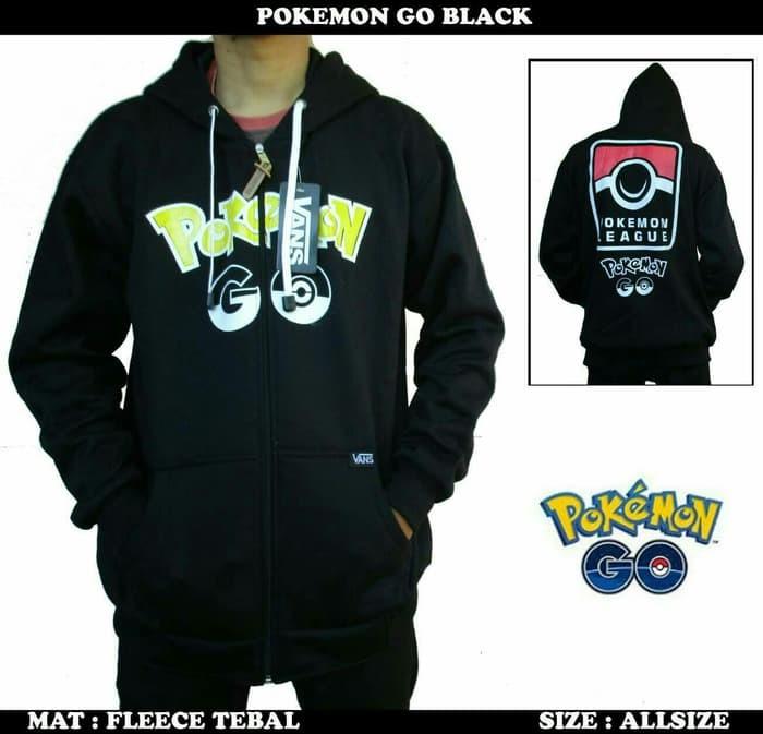 jual Jaket Sweater Hoodie Pokemon Go Black/Sweater Pokemon Go