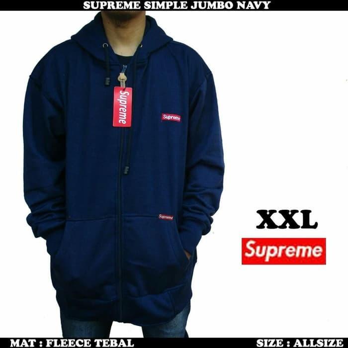 jual Jaket Supreme Pria Navy Jumbo  / Sweater fleece pria