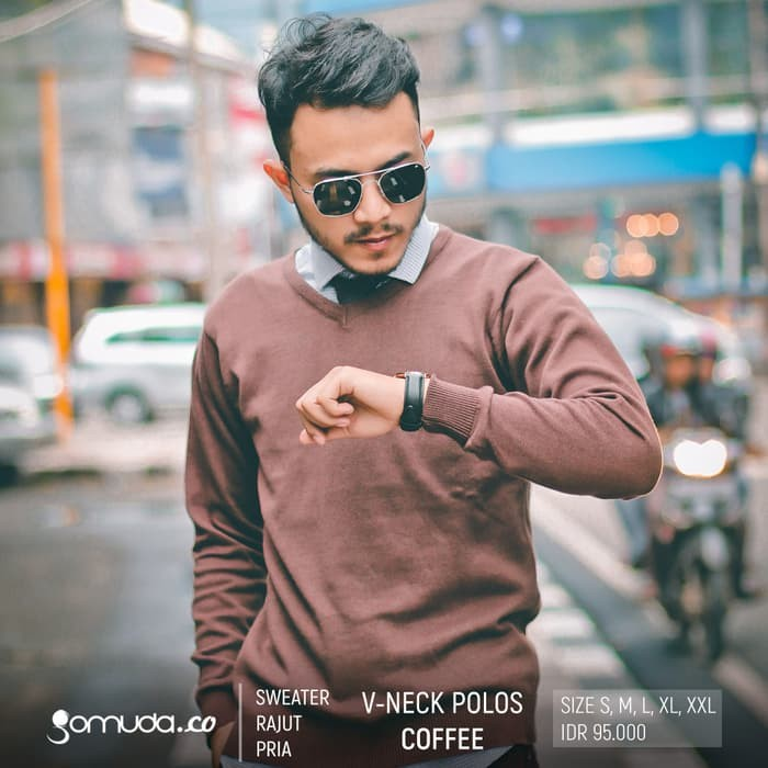jual Sweater Rajut Pria Gomuda - V-Neck Polos Coffee - Coffee, XXL