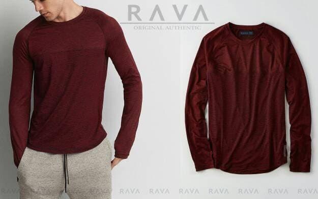 jual Baju Kaos Pria Raglan Lengan Panjang by RAVA PREMIUM (BEST SELLER) - Abu -abu Tua