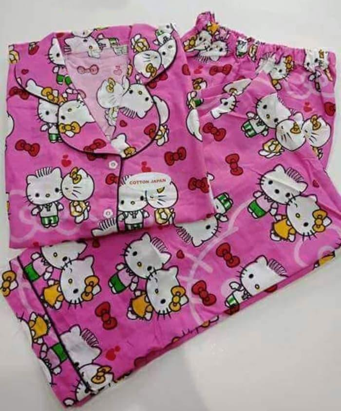 jual Piyama murah/Lengan pendek Celana panjang/Katun jepang/Merah-Pink - Sesuai Foto, Merah - M