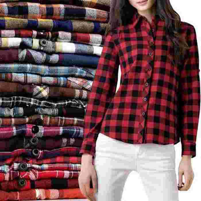 kemeja flannel   - Merah, Allisize