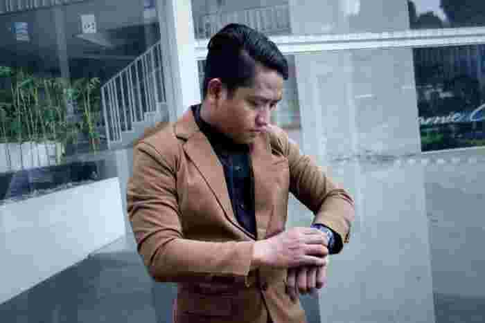 Blazer CAPUCINO Coklat Polos - Jas Pria Slimfit Korea FULL baru