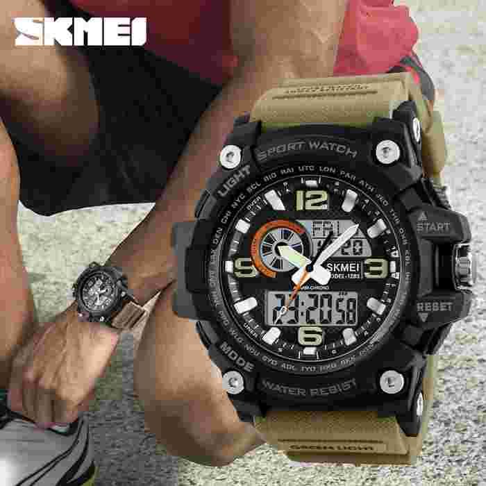 Jam Tangan Pria Dual Time SKMEI Casio Men Sport Original 1283 - Brown