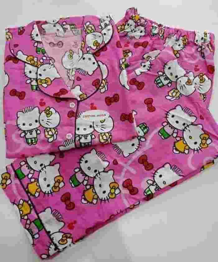 Piyama murah/Lengan pendek Celana panjang/Katun jepang/Merah-Pink - Sesuai Foto, Merah - M