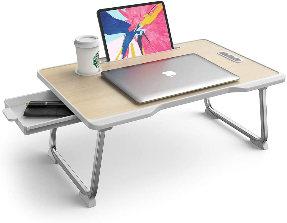 Laptop Table with Cup Holder   Drawer   Mac Holder   Table Holder Study Table, Breakfast Table, Fold