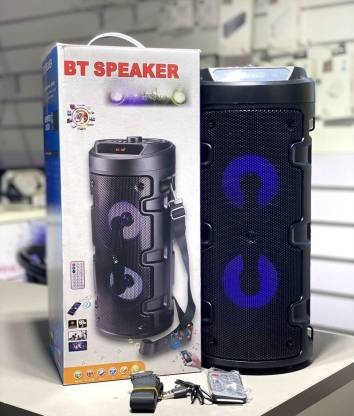 Wireless Bluetooth Super Bass Portable Party Speaker with RGB Lights, Wireless Mic, Remote Control,