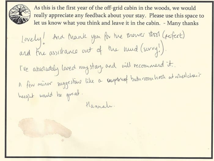 This review is from the first wheelchair user to stay in the cabin.