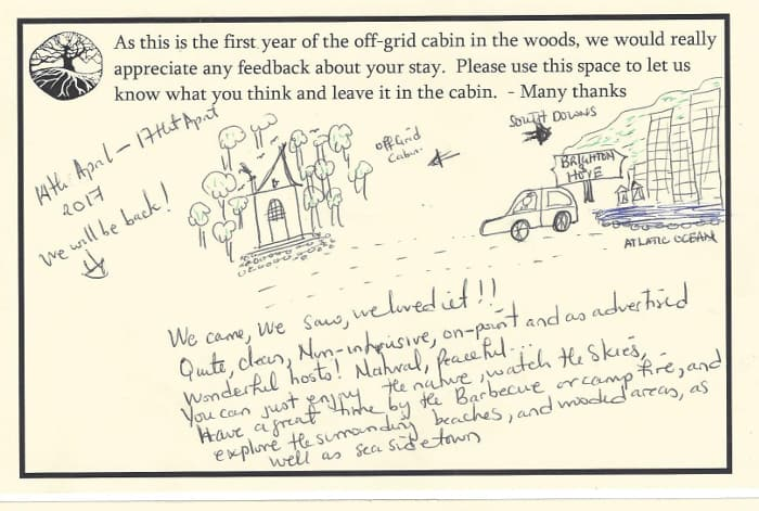 This couple enjoyed their short break in the woods so much that they drew us some pictures