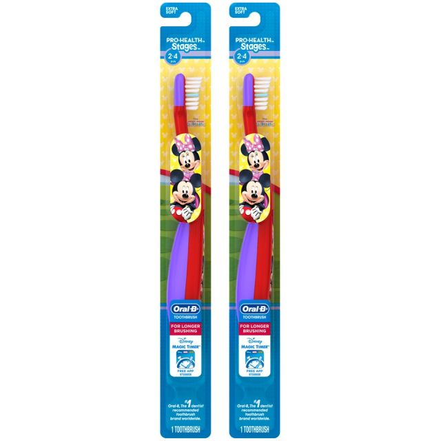 Oral-B Stage 2 Toothbrush (2-4 Years), Minnie Mouse, (2 brushes)